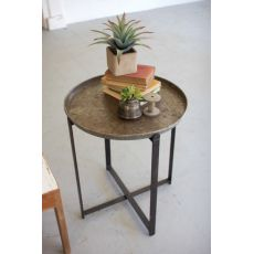 Recycled Round Metal Tray With Folding Base
