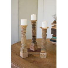 Assorted Wooden Reclaimed Banister Candle Stand Set of 3