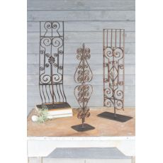 Repurposed Iron Grilles With Stand - Assorted Set of 3