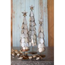 Galvanized Trees With Star Finial Set of 3