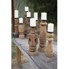 Reclaimed Wooden Furniture Leg Candle Holders Set of 3
