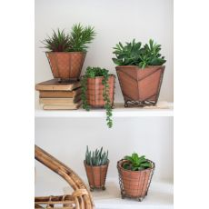 Terracotta Planters With Wire Wrap And Brass Detail Set of 5