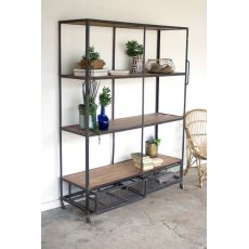 Iron And Wood Shelving Unit With Wire Drawers