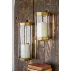 Glass and Brass Finish Wall Mounted Hurricane - Small