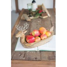 Hand Carved Mango Wood Reindeer Bowl With Metal Lers