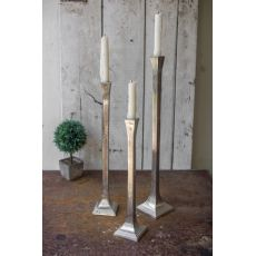 Silver Aluminum Candle Holders Set of 3