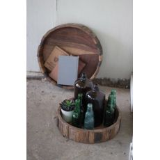 Round Recycled Railway Timber Trays Set of 2