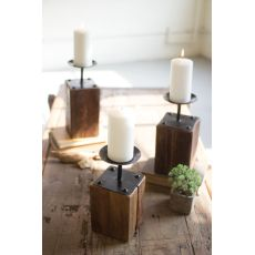 Recycled Wood Candle Holders Set of 3