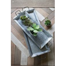Zinc Trays With Brass Detail Set of Two