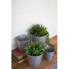 Tapered Zinc Planters With Brass Beads Set of 4