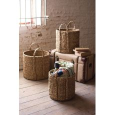Round Braided Seagrass Storage Basket With Handles Set of 3