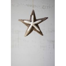 Driftwood Star Ornament With Starfish Detail Set of 4