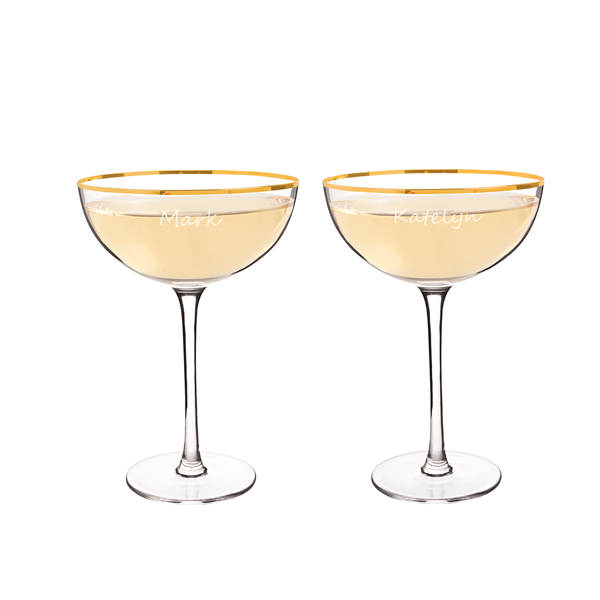 Personalised Champagne Coupe Toasting Flutes (set of 2)