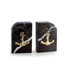 Green Marble Bookends with Antique Gold Plated Anchor Emblem