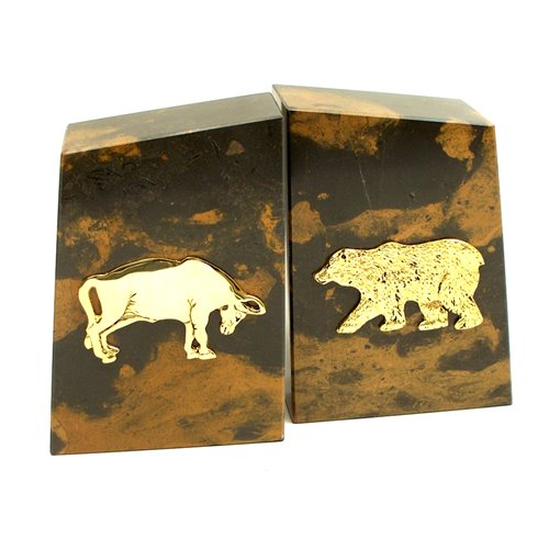 Tiger Eye Marble Bookends with Gold Plated Stock Market Emblem