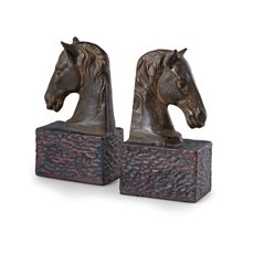 Horse Head Bookends, Metal Cast with a Patina Finish
