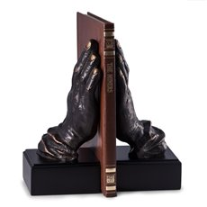 Cast Metal Hands Bookends with Bronzed Finish on Black Wood Base