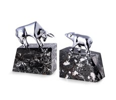 Stock Market Silver Plated Bull and Bear Bookends on Black Zebra Mable Base