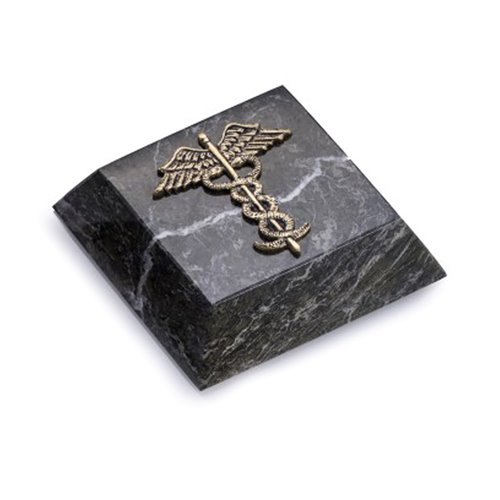 Green Marble Paperweight with Antique Gold Plated Medical Emblem