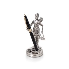 Antique Silver Plated Lady Justice Pen Holder