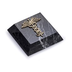 Black Zebra Marble Paperweight with Antique Gold Plated Medical Emblem