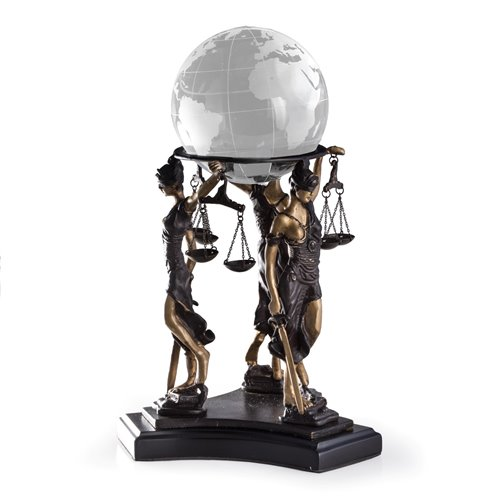 Three Bronze Standing Lady Justice Ball Holder on Black Wood Base