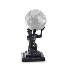 Cast Metal Atlas Ball Holder with Bronzed Finish on Green Marble Base