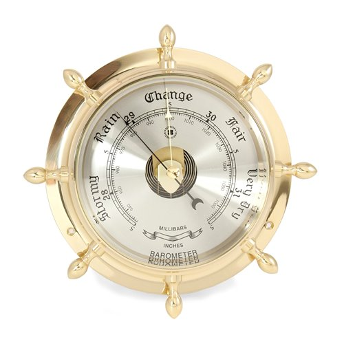 Lacquered Brass Ship's Wheel Barometer with Beveled Glass
