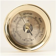 Lacquered Brass Round Barometer with Beveled Glass