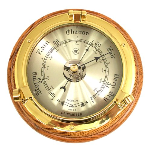 Lacquered Brass Porthole Barometer on Oak Wood