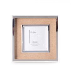 Silver Plated and Sand Suede 3x3 Picture Frame with Easel Back