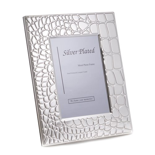 Silver Plated with Croco Design 4x6 Picture Frame with Easel Back