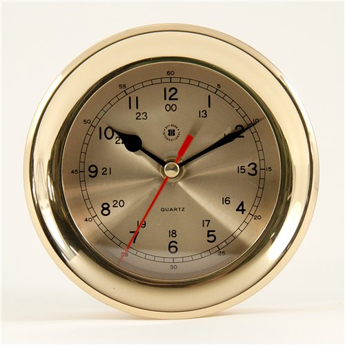 Lacquered Brass Round Quartz Clock with Beveled Glass