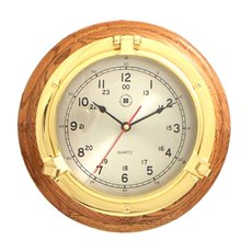 Lacquered Brass Porthole Quartz Clock on Oak Wood