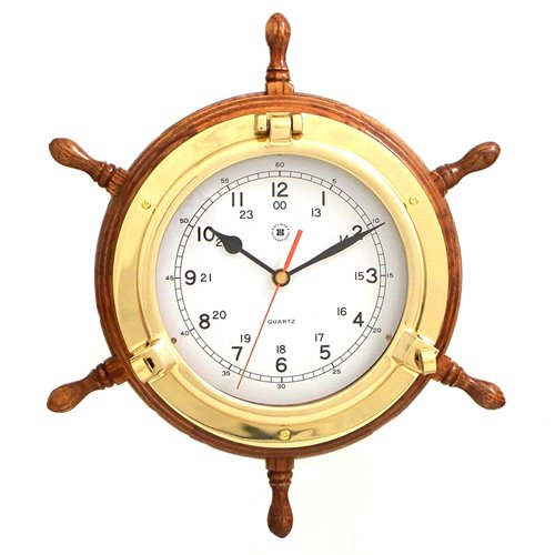 Lacquered Brass Porthole Quartz Clock with Ship's Wheel on Oak Wood