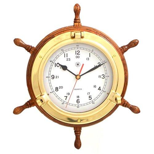 Lacquered Brass Porthole Quartz Clock with Ship's Wheel on Oak Wood