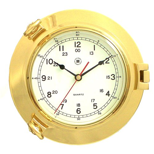 Lacquered Brass Porthole Quartz Clock with Beveled Glass
