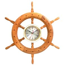 24 Oak Ship's Wheel with Lacquered Brass Round Quartz Clock