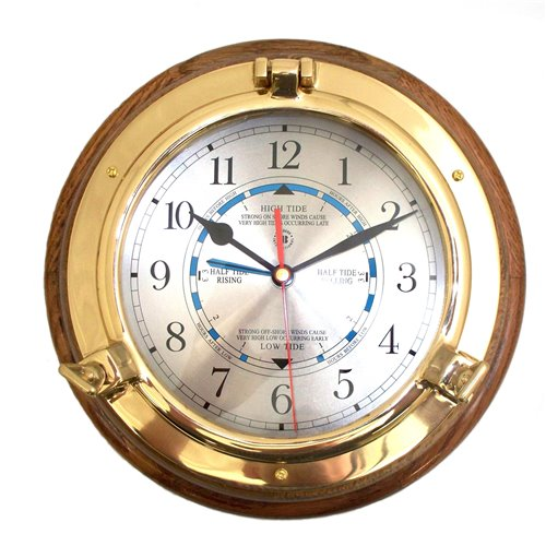 Lacquered Brass Porthole Tide and Time Quartz Clock on Oak Wood