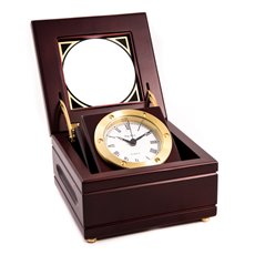 Quartz Clock in Mahogany Hinged Box with Glass Top