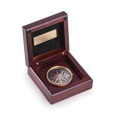 Brass Compass in Mahogany Wood Hinged Box