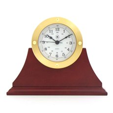 Gold Tone Round Quartz Clock on Mahogany Base