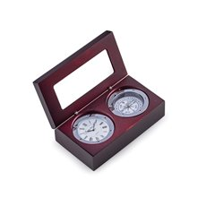 Compass and Clock in Mahogany Hinged Box with Chrome Plate and Accents