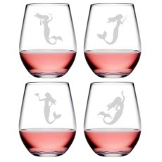 Mermaid Asst Tritan Stemless Wine Tumblers, S/4