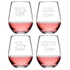 Lake Talk Asst Tritan Stemless Wine Tumblers S/4