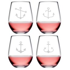 Crossed Anchor Compass Tritan Stemless Tumblers, S/4