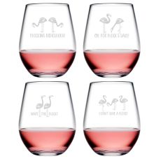 Flocking Ridiculous Asst Tritan Stemless Wine Tumblers, S/6