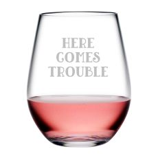 Here Comes Trouble Tritan Stemless Wine Tumblers, S/4