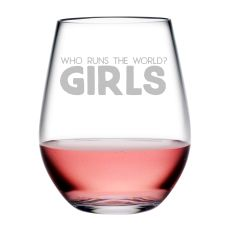 Who Runs the World Tritan Stemless Wine Tumblers, S/4