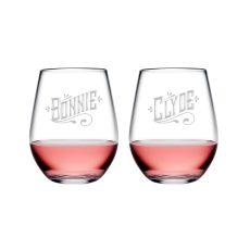 Bonnie & Clyde Tritan Stemless Wine Tumblers, S/2